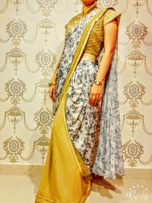 Ready to wear saree with heavy embellished blouse